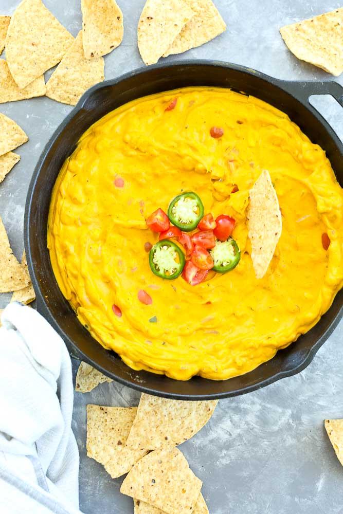 VEGAN LOADED queso dip recipe made with veggies