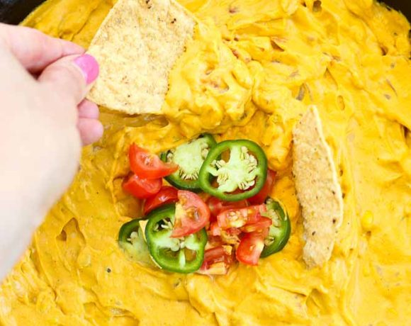 Dipping in the Vegan Queso Dip