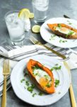 Recipe for Baked Eggs with Spinach in Sweet Potato Boats.
