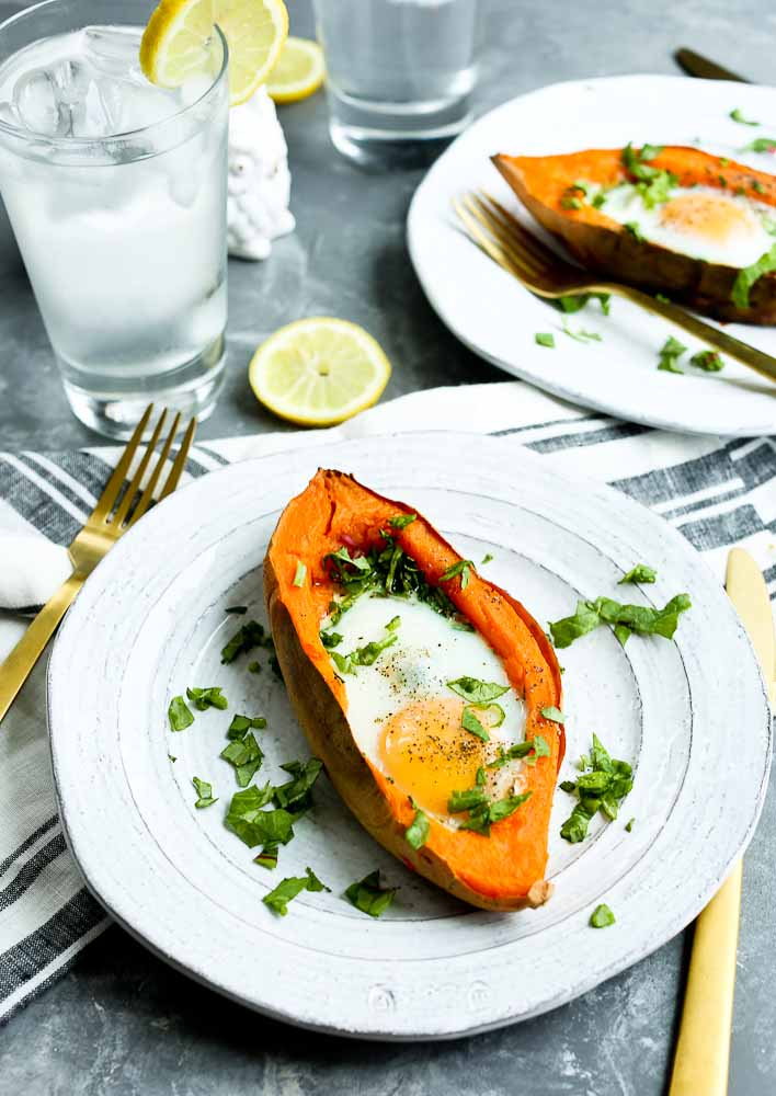 recipe for Baked Eggs with spinach in a sweet potato boat