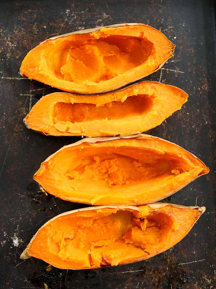 Picture of scooped out sweet potato boats