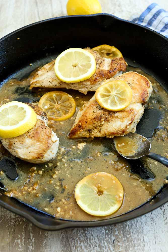 Serving the Easy Lemon Garlic Skillet Chicken Recipe