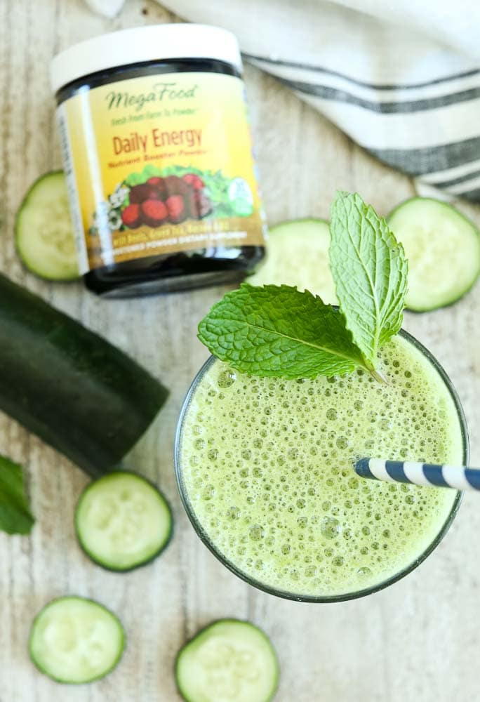 Energizing Cucumber Mint Smoothie with Daily Energy Nutrient booster