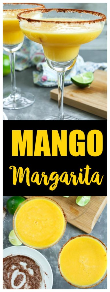 Mango Margarita with spicy rim. A healthy margarita naturally sweetened