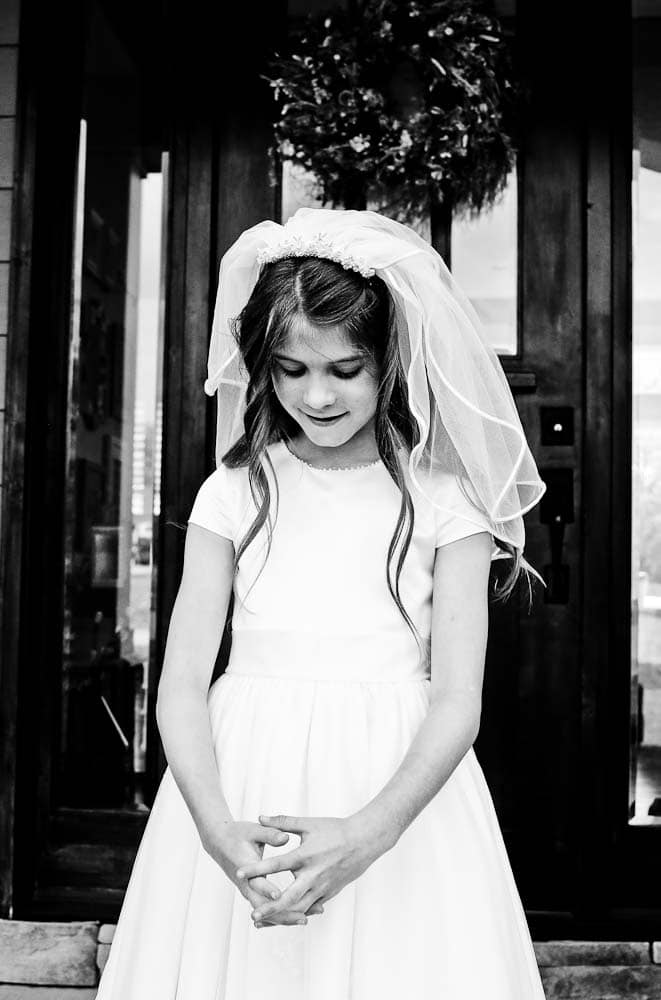 Meghan First Communion Day black and white picture