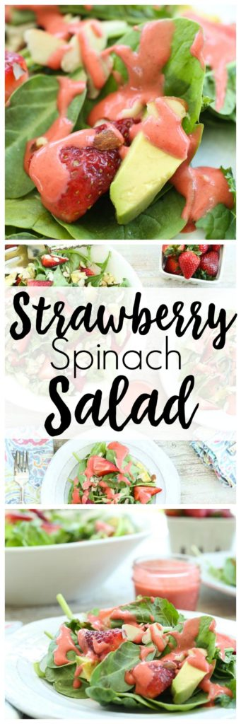This Strawberry Spinach Salad is made with avocado and the most beautiful strawberry vinaigrette dressing. This is vegan, gluten-free, vegetarian, no sugar added healthy salad recipe!