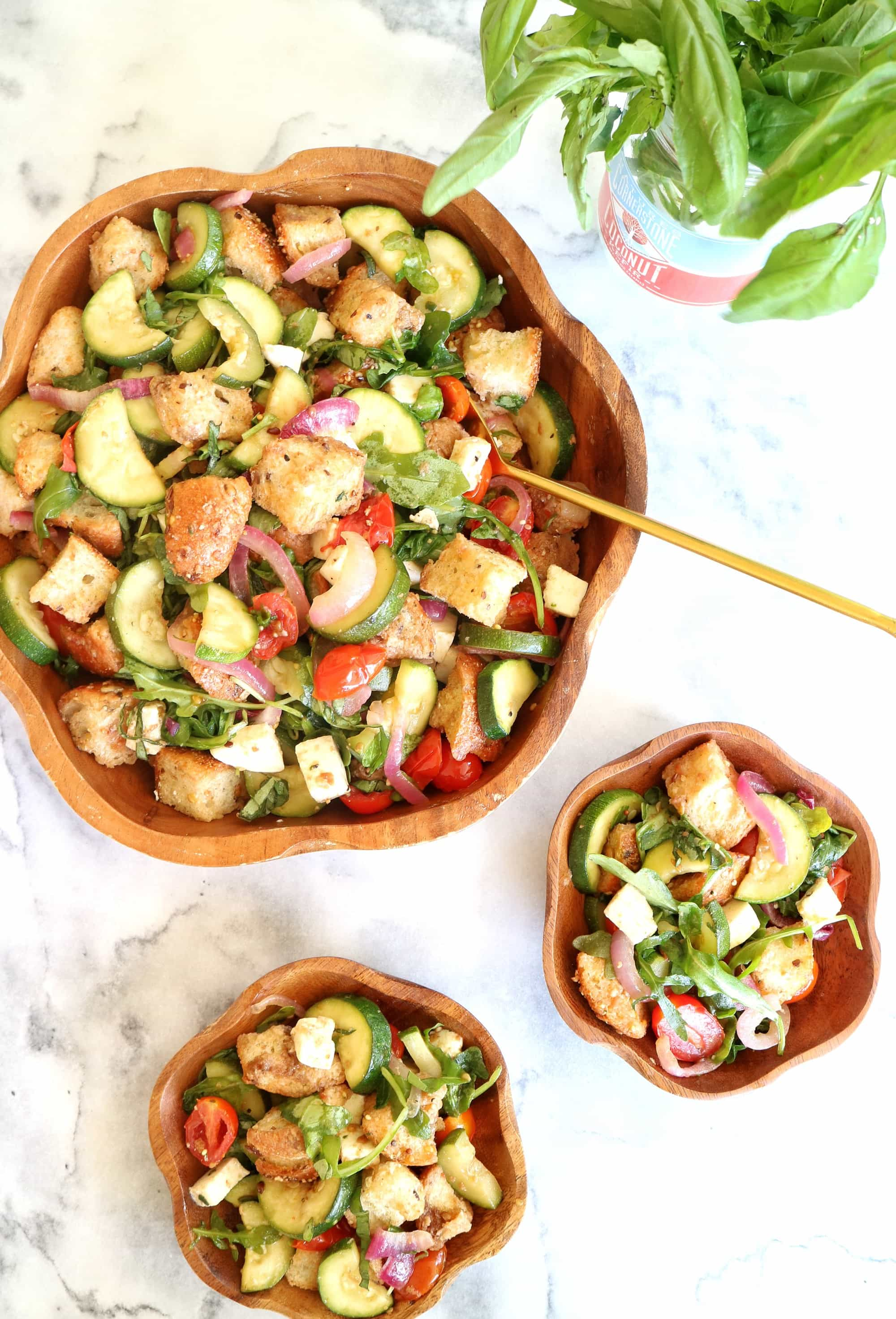 Creative recipes with basil -Roasted Summer Vegetable Panzanella