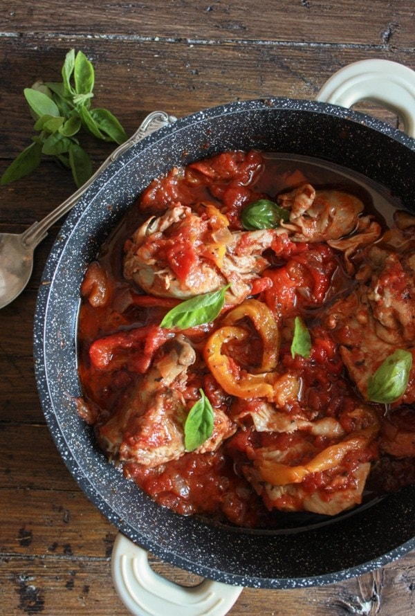 Bell Pepper Recipes: Italian Chicken and tomato Skillet with Roasted Peppers