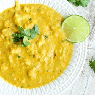Cauliflower Soup with Coconut, Turmeric, and Lime