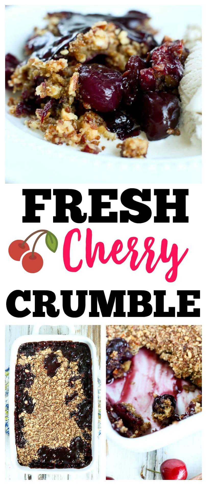 Fresh Cherry Crumble Recipe | summer dessert | fruit dessert | cherry desserts | healthy desserts | quick and easy desserts