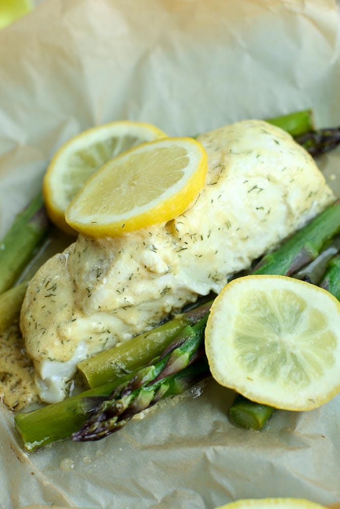 halibut recipe baked in parchment with asparagus