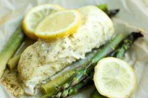 Halibut Recipe baked in parchment with asparagus and lemon