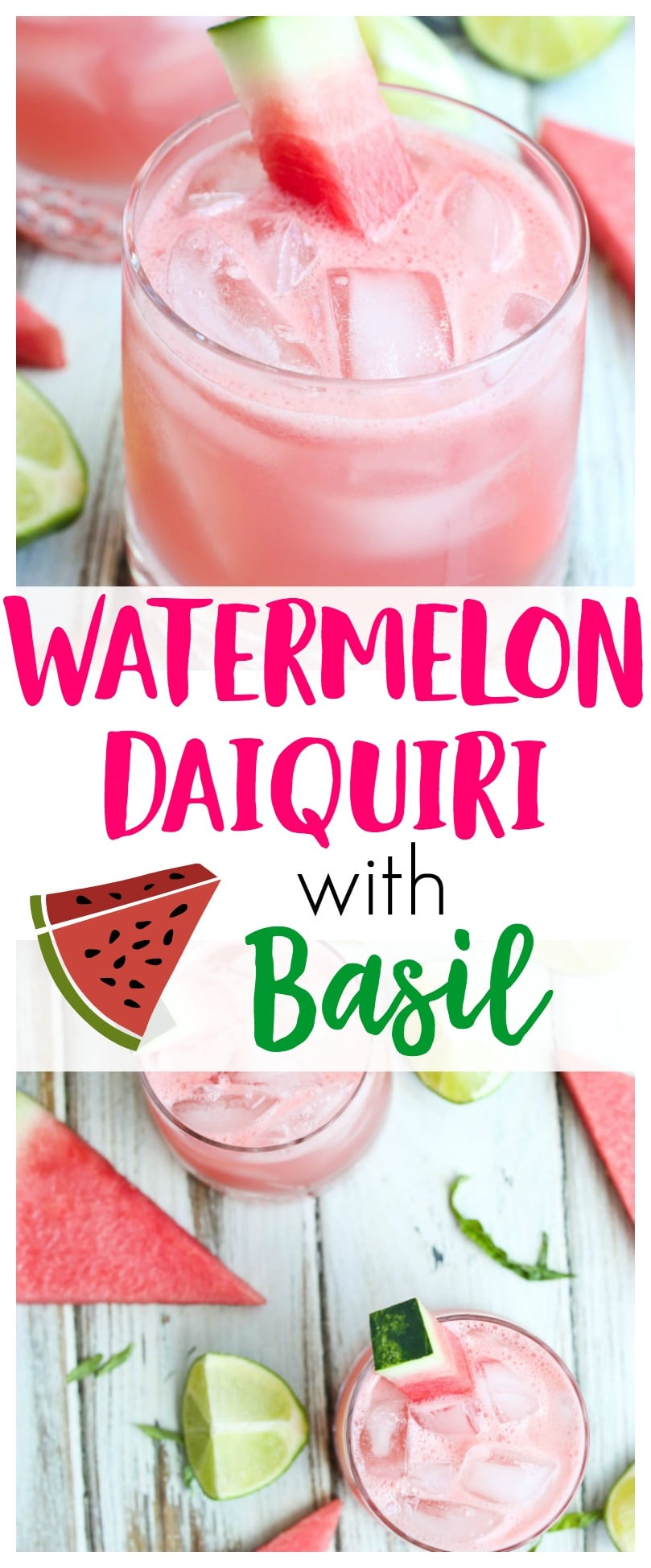 Watermelon Daiquiri Recipe | cocktail with basil | rum cocktails | summer cocktails | watermelon cocktails