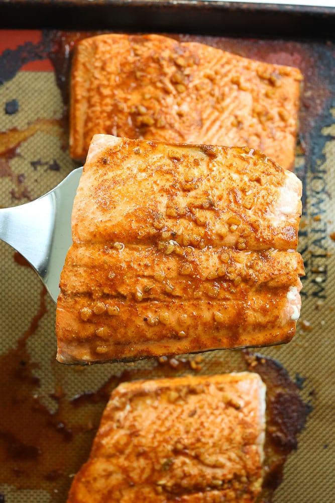 Chili Lime Baked Salmon on baking sheet