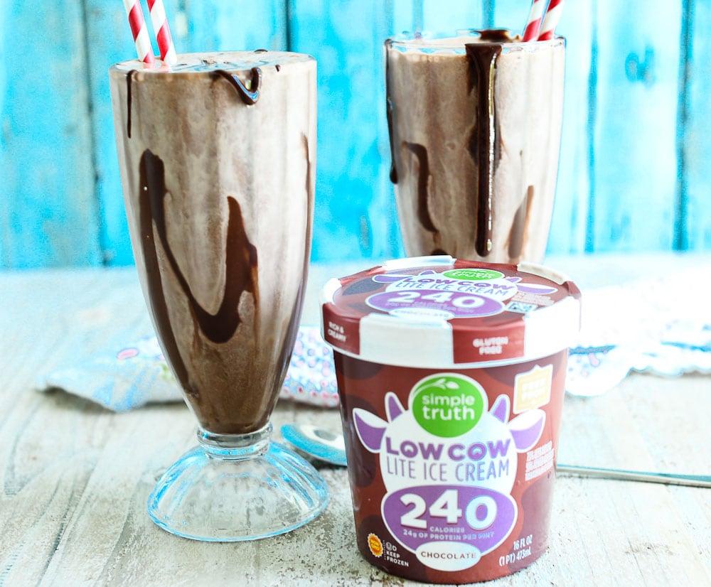 Low Calorie Chocolate Milkshake with LowCow Ice Cream
