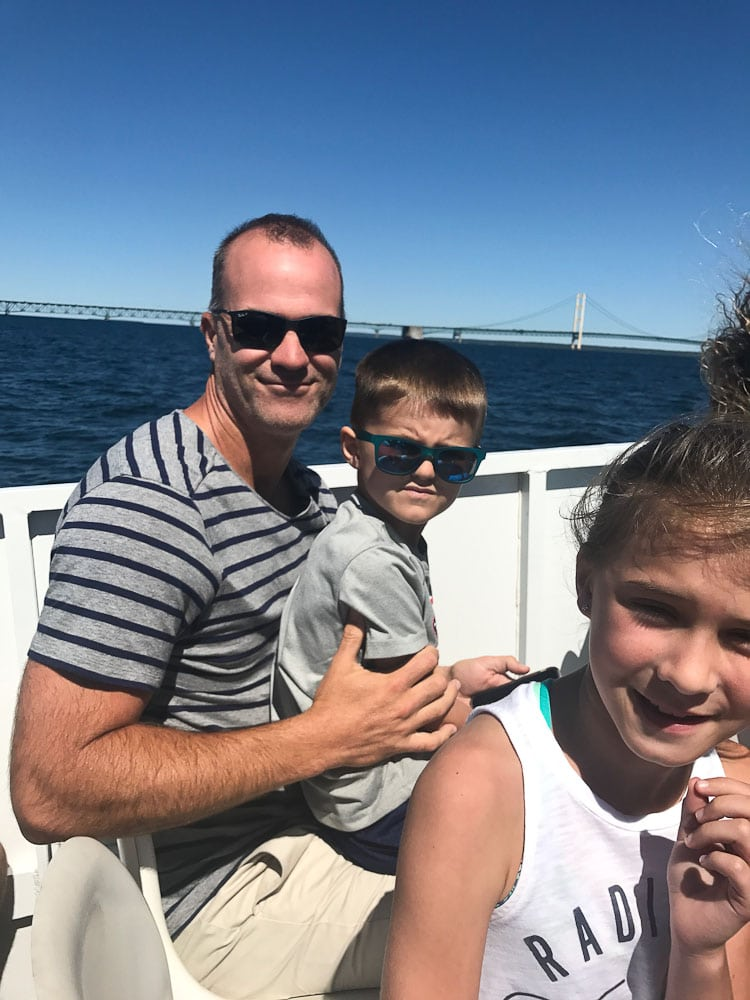 Northern Michigan Vacation ferry ride with Mackinac Bridge in background