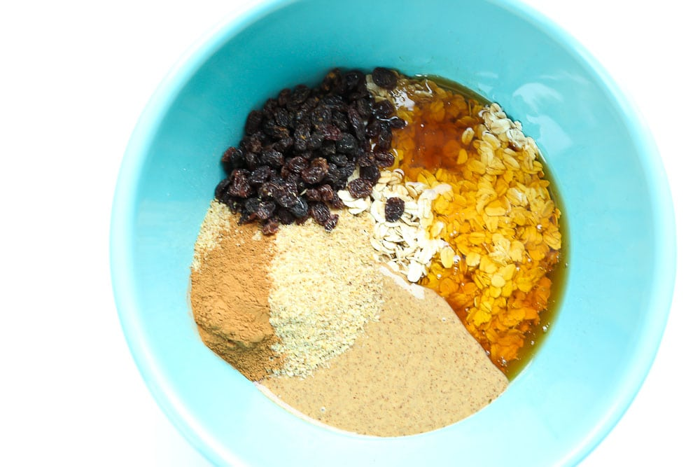 Bowl of ingredients for Oatmeal Cookie Energy Balls recipe
