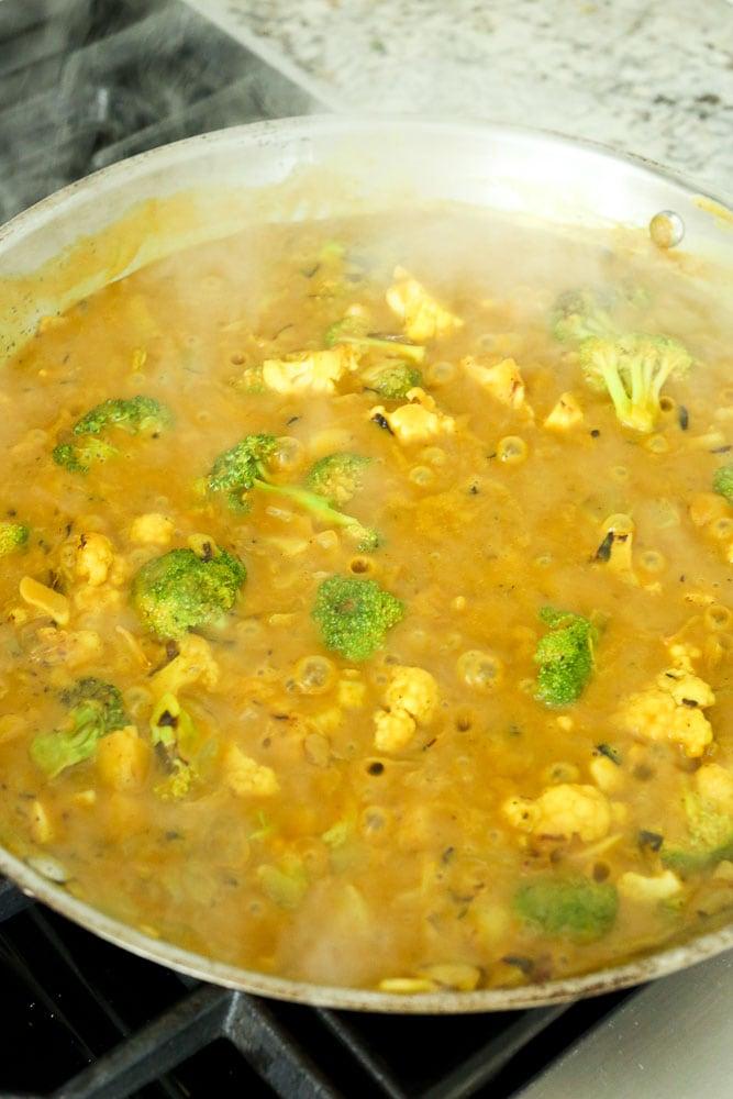 Pumpkin Vegetable Curry sauce simmering