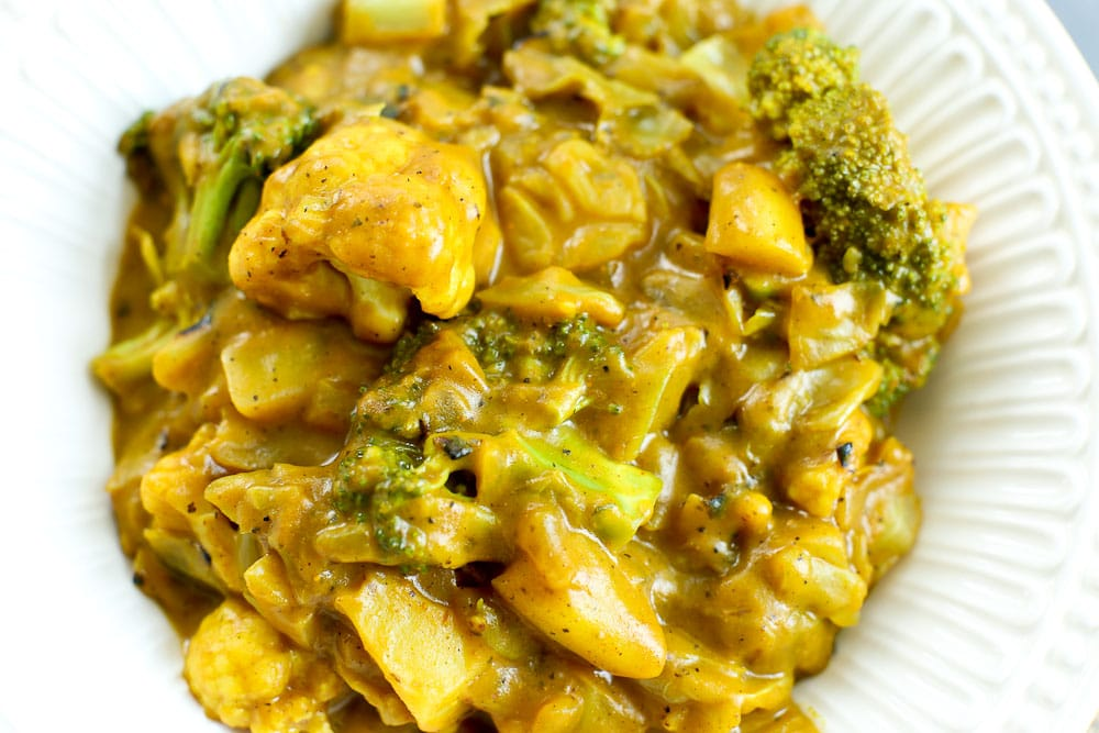 close up picture of Pumpkin Vegetable Curry recipe