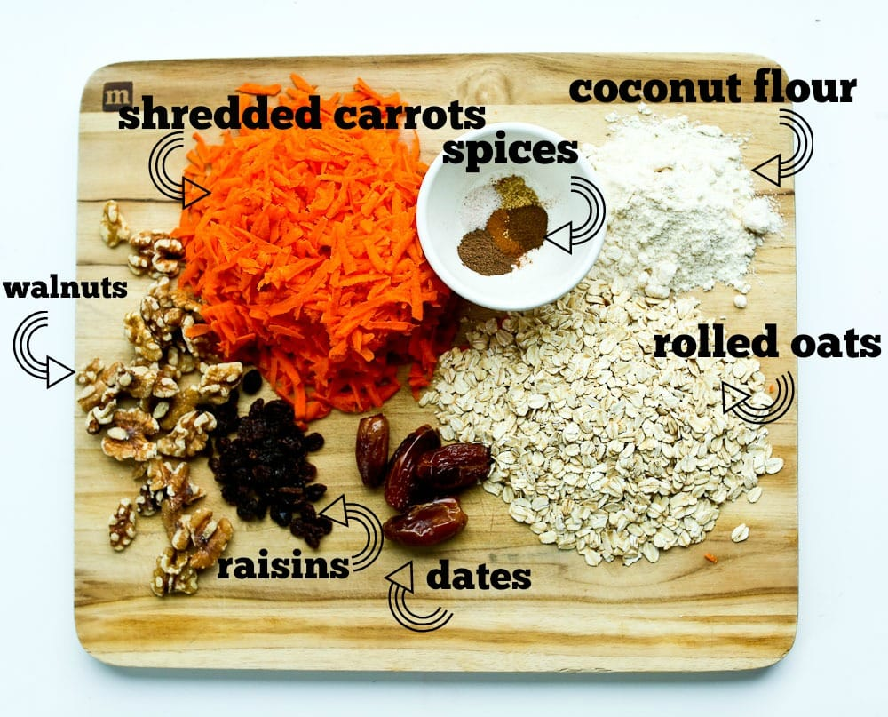 Ingredients for Carrot Cake Energy Balls