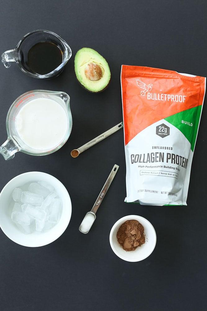 ingredients for Café Mocha Collagen Protein Smoothie Recipe
