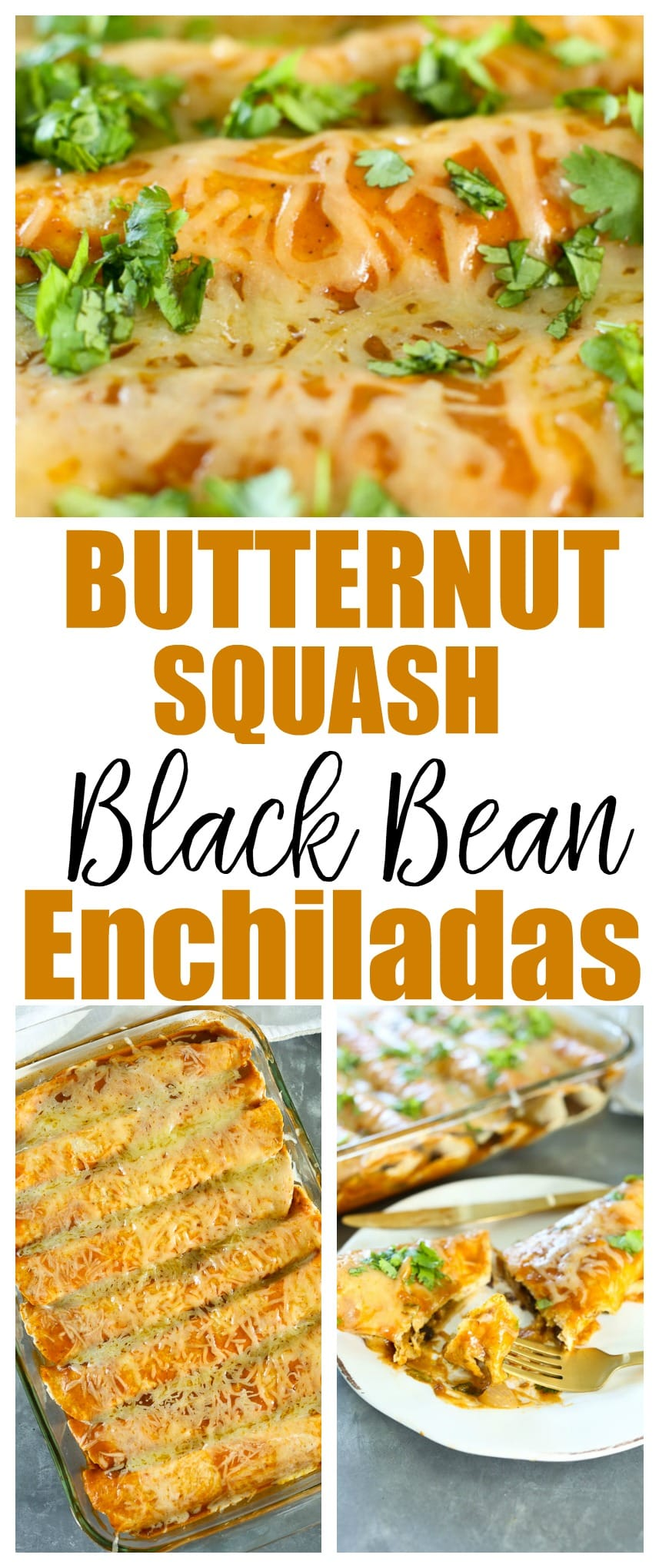 Butternut Squash Black Bean Enchiladas recipe. 25 minutes total for this easy and healthy weeknight dinner recipe! #vegetarian #healthy #weeknightdinner
