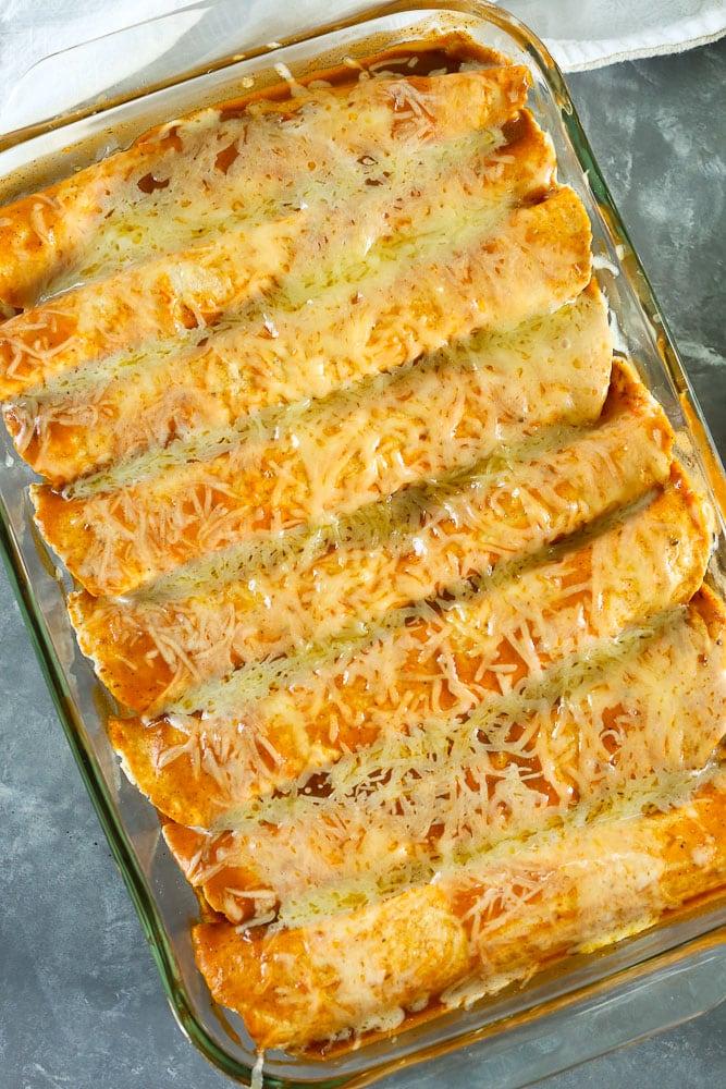 Whole pan of Butternut Squash Black Bean Enchiladas Recipe