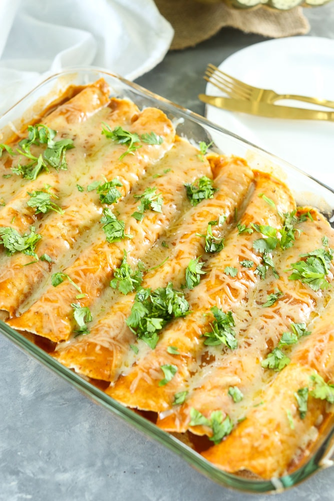 Butternut Squash and Black Bean Enchilada Recipe in pan with cilantro on top