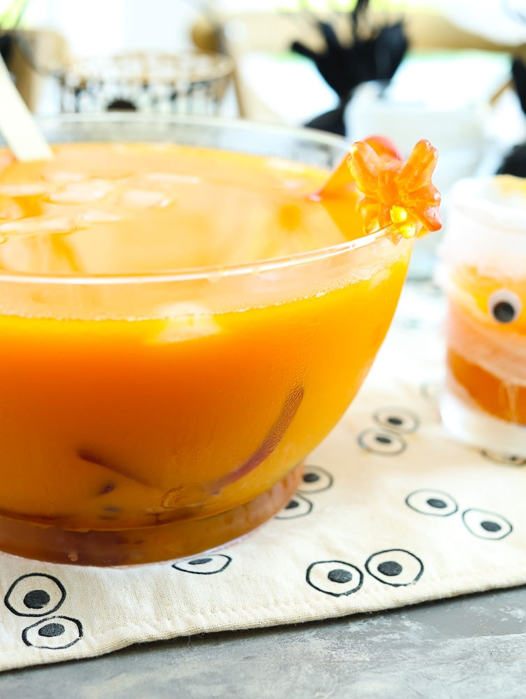 Creepy Halloween Punch with a worm for kids Halloween Party