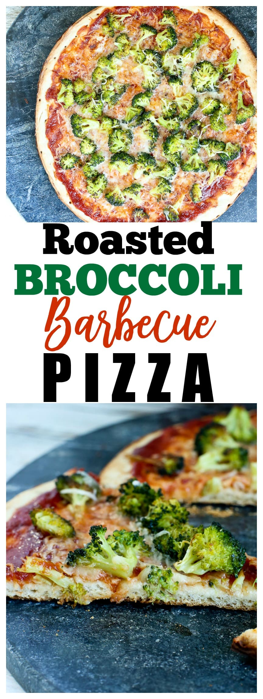 25 minute dinner recipe! This Roasted Broccoli Barbecue Pizza Recipe is a winner. Healthy vegetarian weeknight dinner idea! #pizza #recipe #healthy #vegetarian #dinner