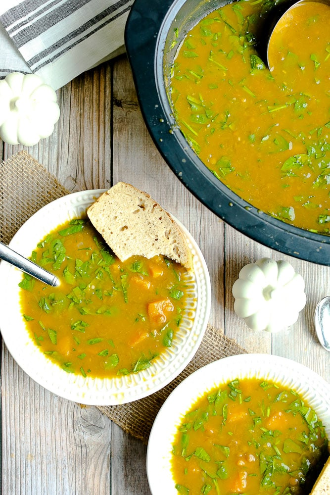 Slow Cooker Butternut Squash Lentil Soup with spinach