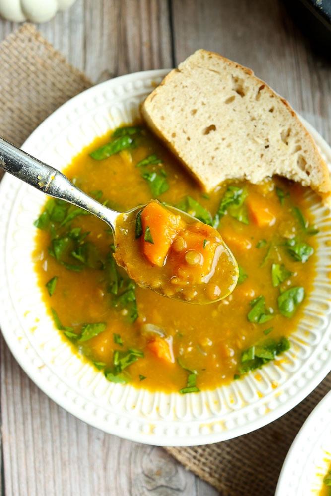Slow Cooker Butternut Squash Lentil Soup Recipe