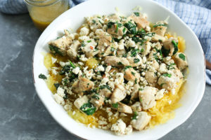 Mediterranean Spaghetti Squash Bowl with Chicken and Spinach