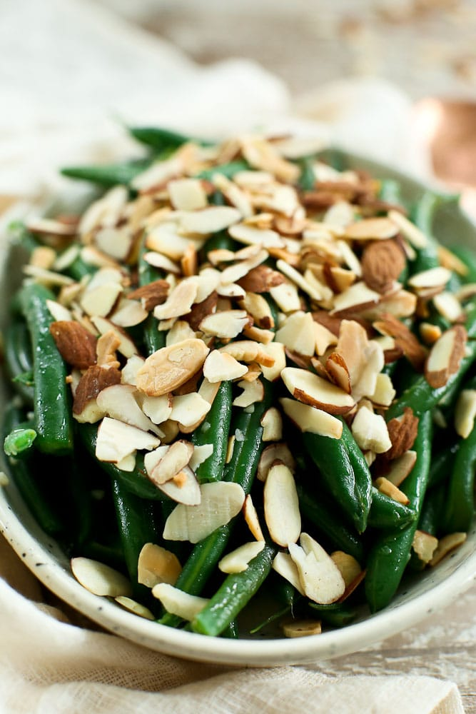 close up view of Garlic Butter Green Beans with Toasted Almonds recipe