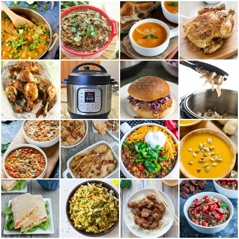 Healthy Instant Pot Recipes -grid of 16 photos showing the recipes