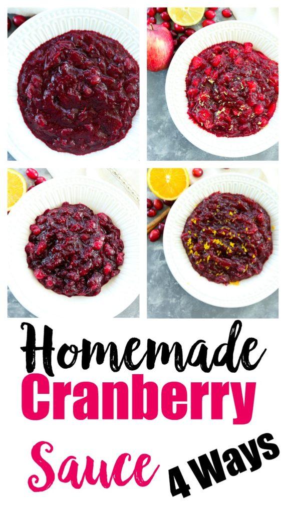 Homemade Cranberry Sauce 4 Ways #thanksgivingrecipes #sidedish #healthy #cranberrysauce