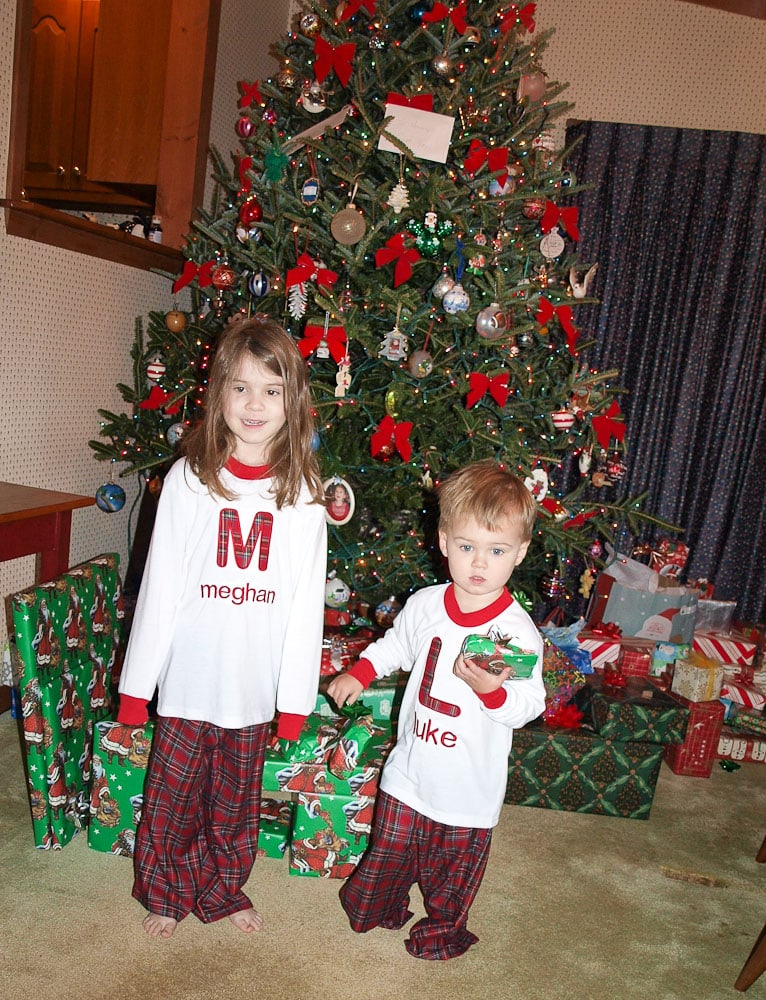 Ideas for Family Traditions for Christmas-Meghan and Luke wearing Christmas jammies