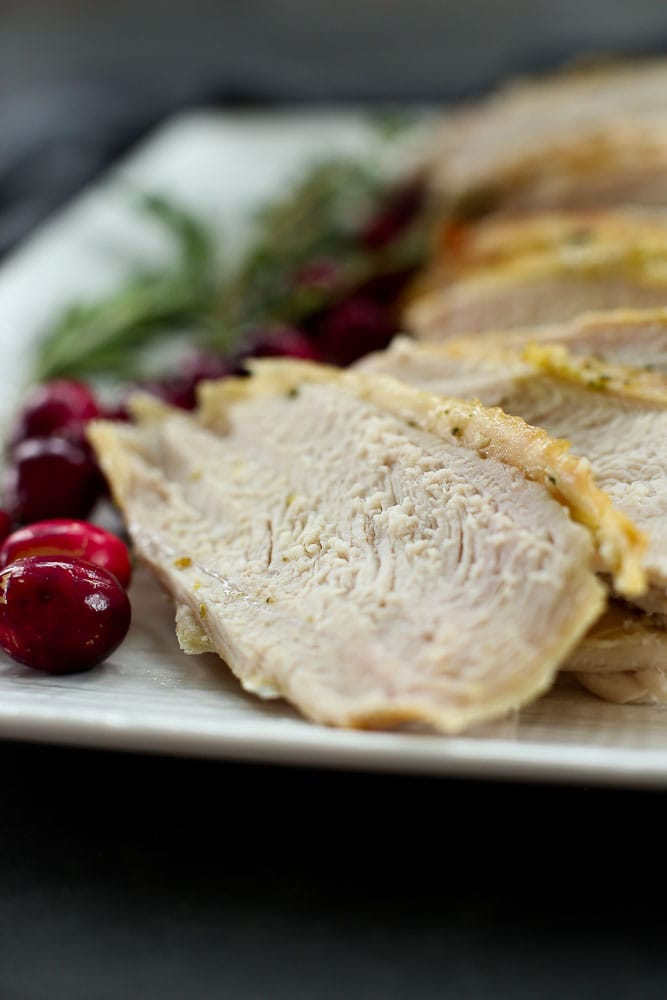 Roasted Turkey Breast Recipe slices on a plate