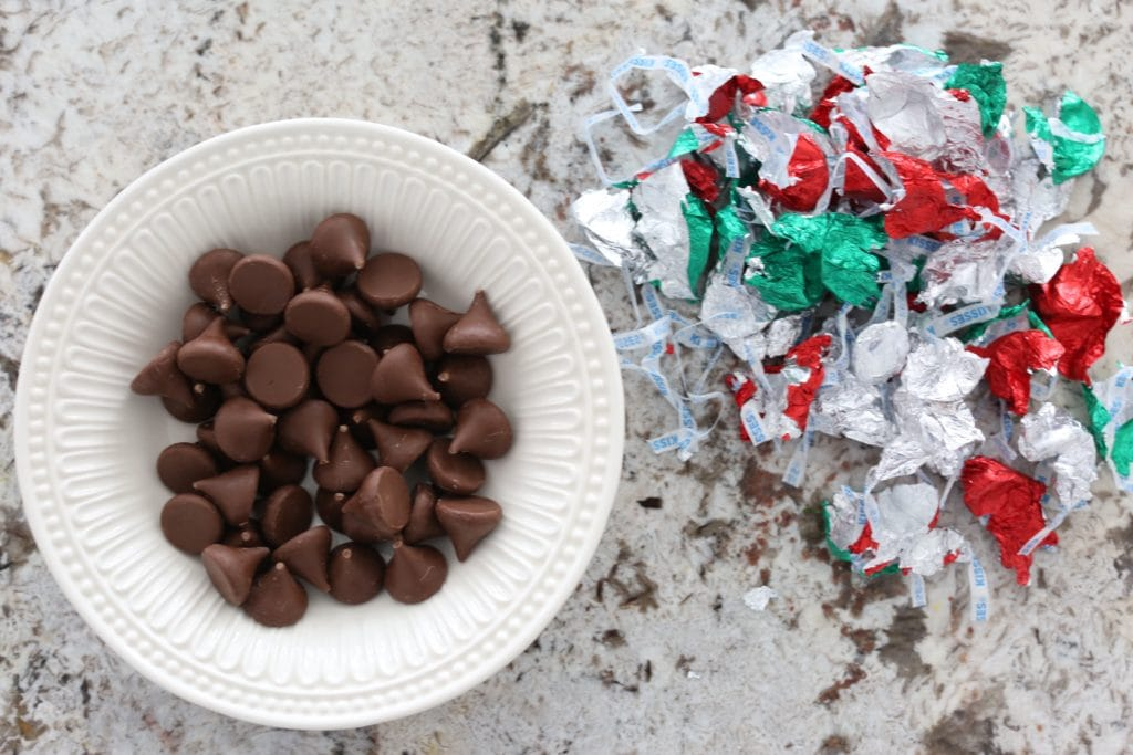 unwrapped kisses for Gluten-free Peanut Butter Blossoms christmas cookies recipe