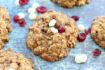 Cranberry White Chocolate Chip Oatmeal Cookies Recipe close up of one big cookie