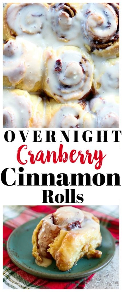 Overnight Cranberry Cinnamon Rolls Recipe. Perfect for #Christmas #breakfast #brunch