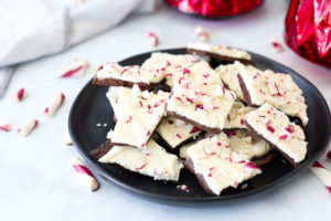 Homemade Peppermint Bark Recipe on a black plate