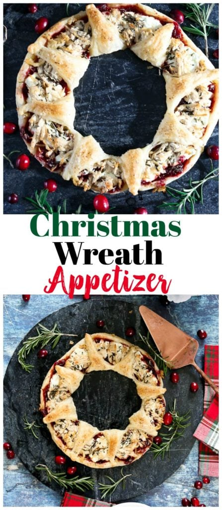 Puff Pastry Wreath Appetizer. #christmasrecipes #appetizers #puffpastry