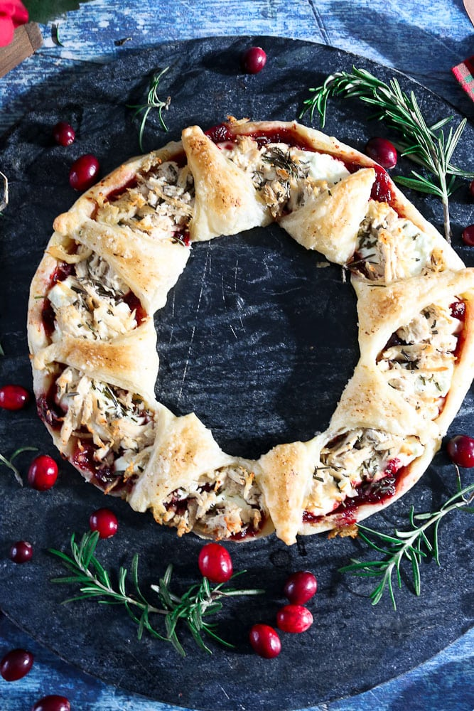 Puff Pastry Wreath Appetizer on a tray