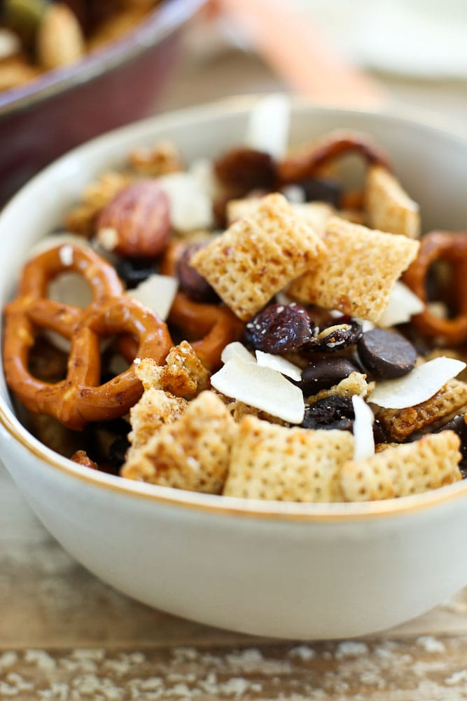 Sweet and Salty Chex Mix Recipe in a small bowl