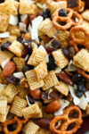 Sweet and Salty Chex Mix-close up picture of all the ingredients
