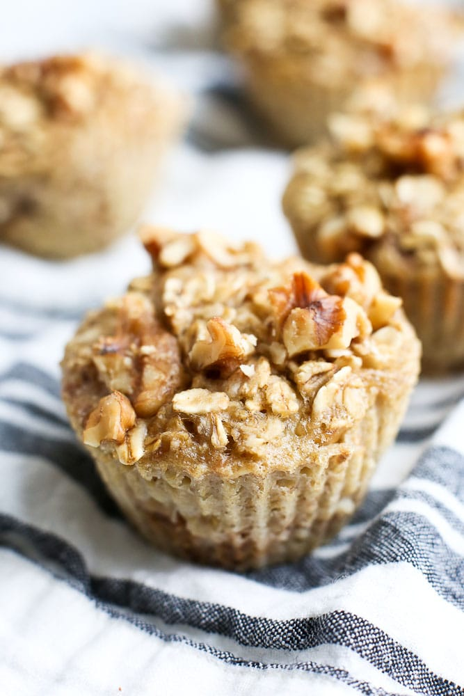 Banana Nut Oatmeal Muffins breakfast Cups recipe One cup close up