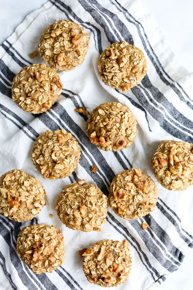 Banana Nut Oatmeal Muffins breakfast Cups overhead shot of a bunch of muffins
