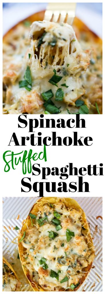 Spinach Artichoke Stuffed spaghetti squash with chicken recipe #healthy #weeknightdinners #glutenfree