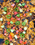 Sweet Potato Nachos Recipe on a sheet pan with lots of toppings